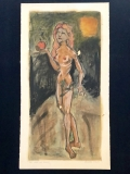 """""""Eve (After Lucas Cranach)"""" Mixed media on paper"""
