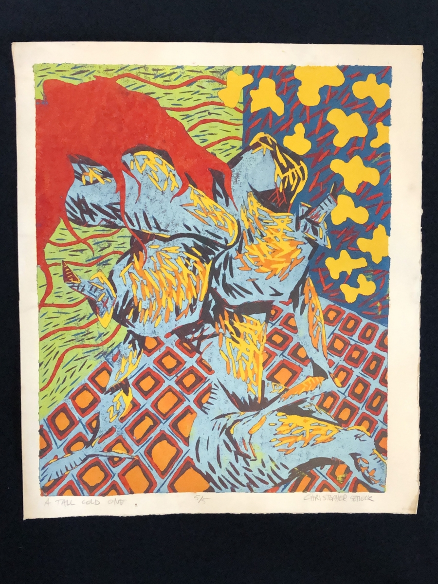"""""""A Tall Cold One"""" relief print"""