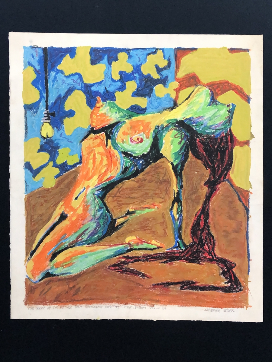 """""""The Beauty of the Female Form Grotesquely Depicted in the Leperous Hues of Rot"""" oil pastel"""