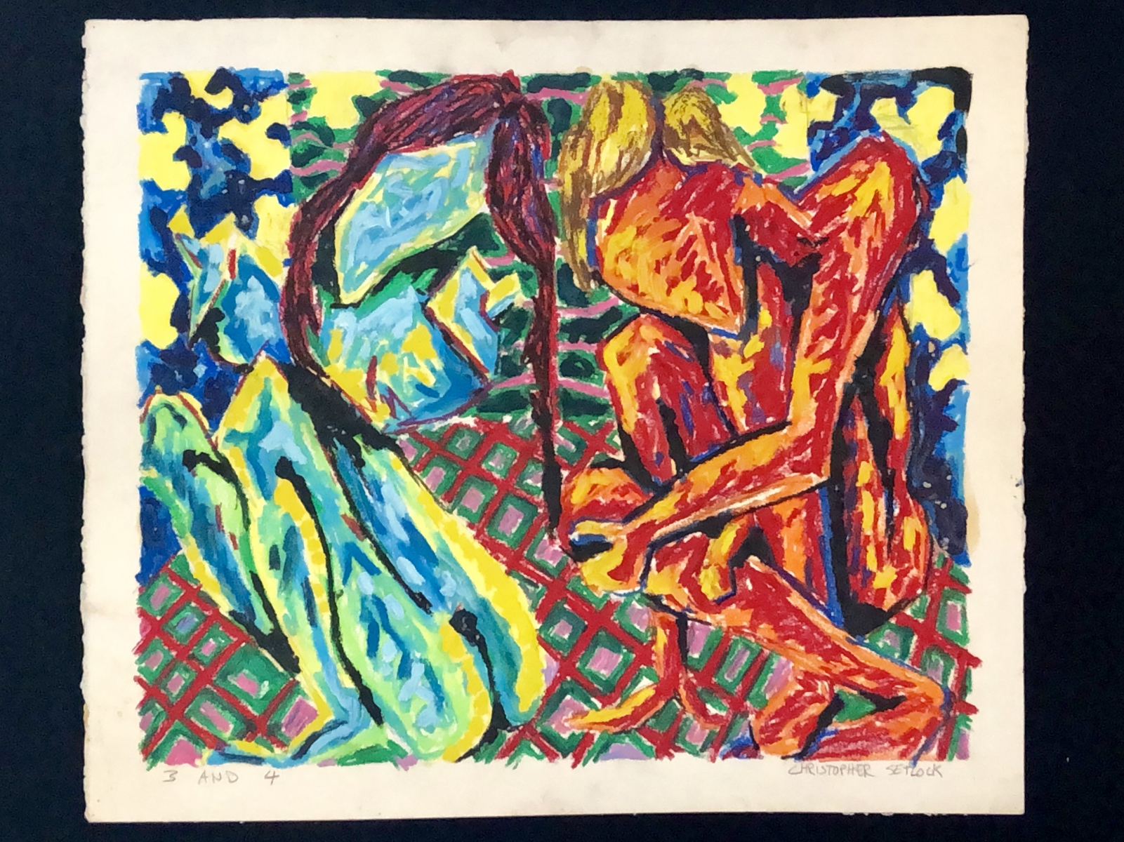 """""""3 and 4"""" oil pastel"""