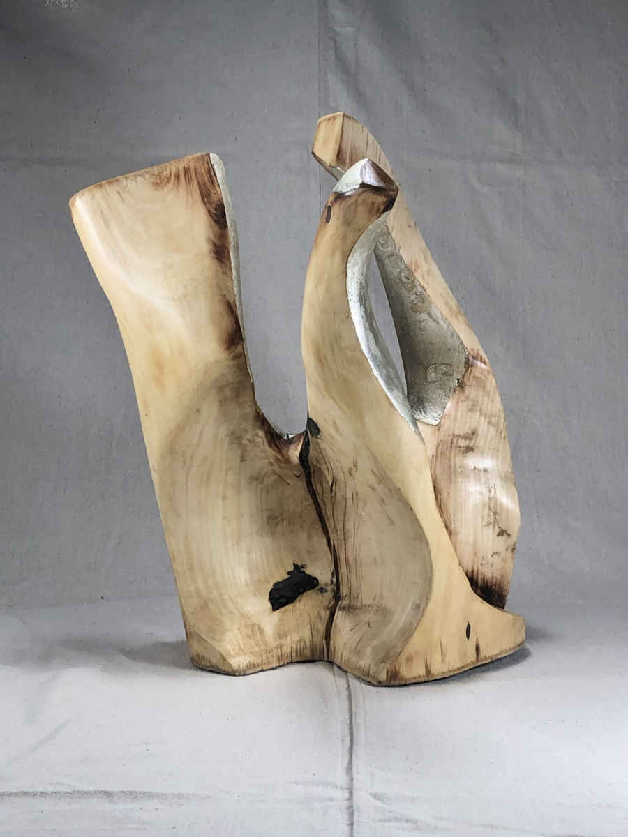 """""""Clairvaux"""" Carved and scorched maple, Epoxy, 11k white gold leaf."""