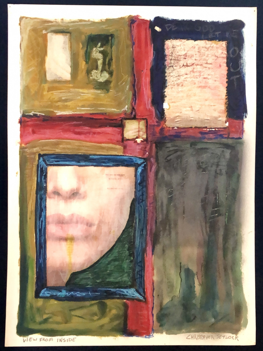 """View From Inside"" mixed media on paper"