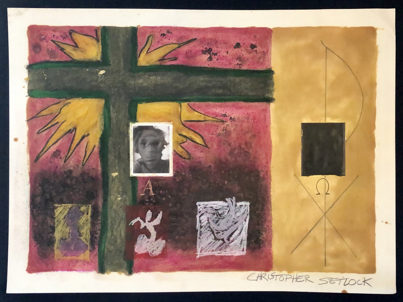 """Untiled (Chi Rho)"" mixed media on paper"
