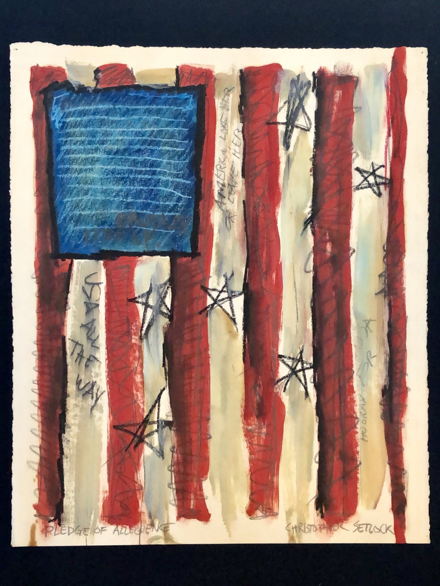 """Pledge Of Allegience"" mixed media on paper"